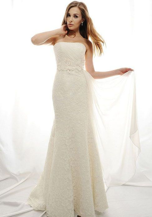 draping beaded lace strapless elegant wedding dress