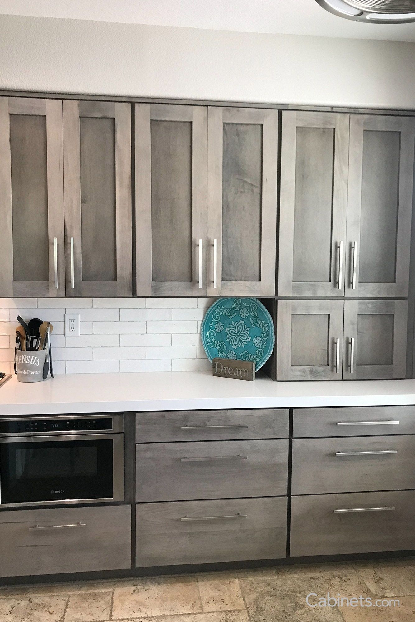Looking For A Way To Hide Your Appliances But With Style Incorporate A Wall Tower Cabinet Tha Gray Stained Cabinets Kitchen Cabinet Styles Staining Cabinets