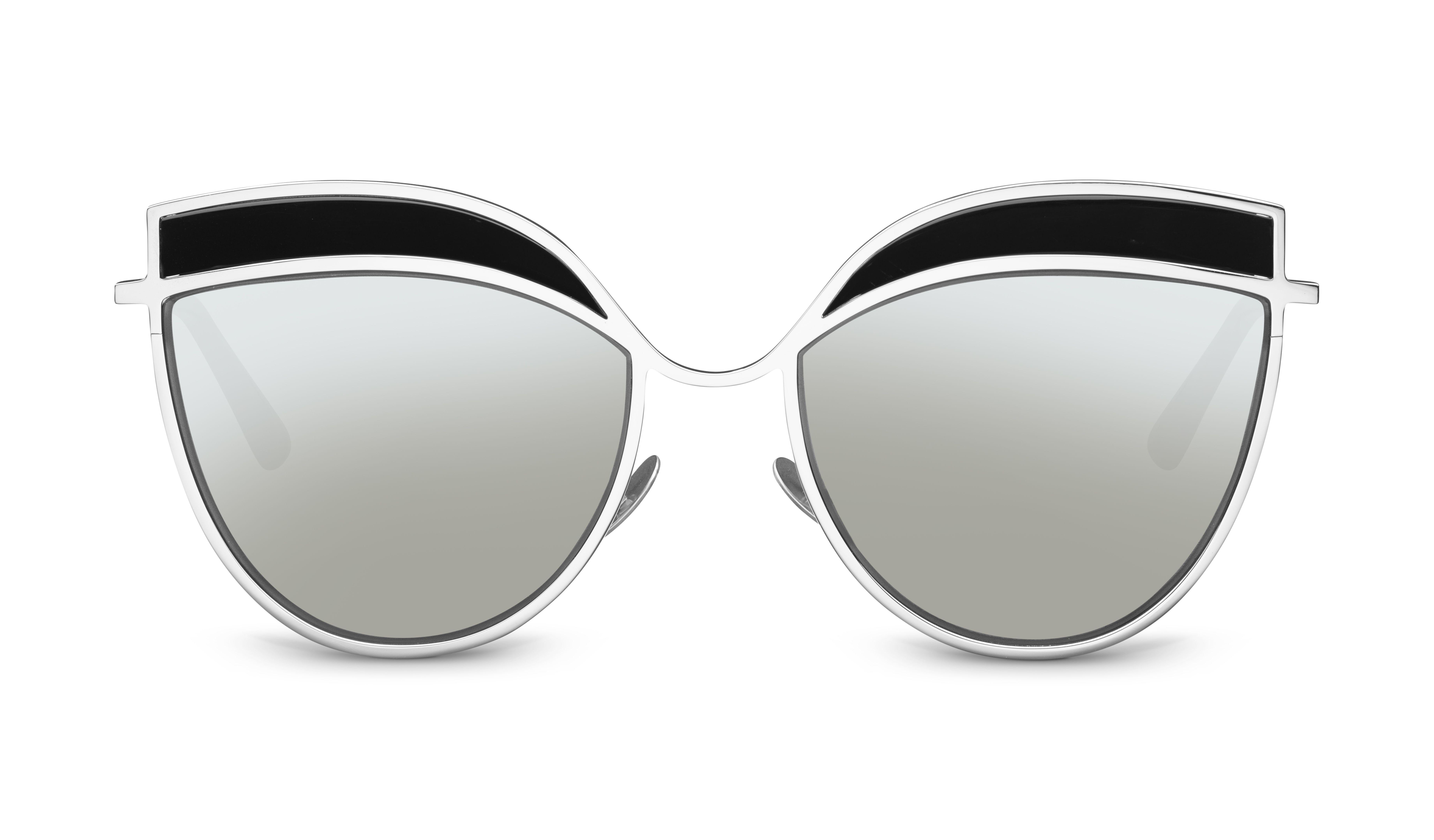 Kaleos Ripley Cat Eye sunglasses in black with silver mirror ...