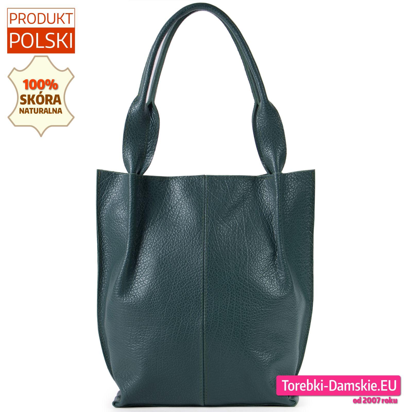 Zielona Torba Damska Ze Skory Naturalnej Duzy Shopperbag Tote Bag Tote Bags