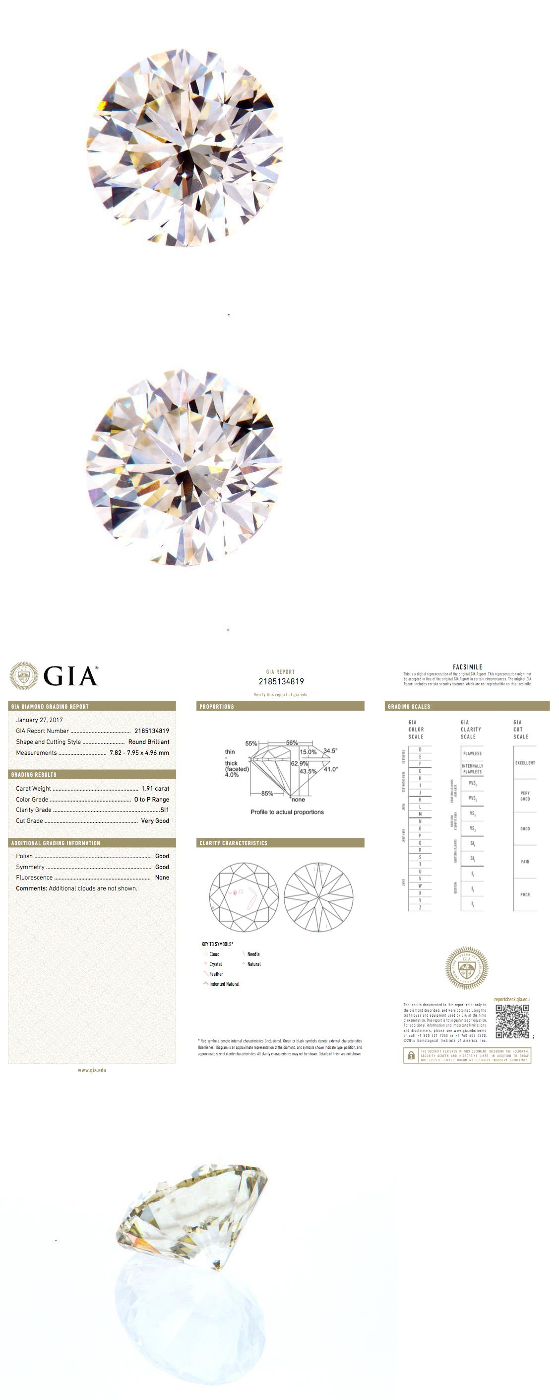 Natural Diamonds 3824 Gia Certified Natural Round Cut Brilliant Loose Diamond 1 91 Ct Si1 Clarity Buy It Now Only 5000 O Natural Diamonds 3824 Jewel