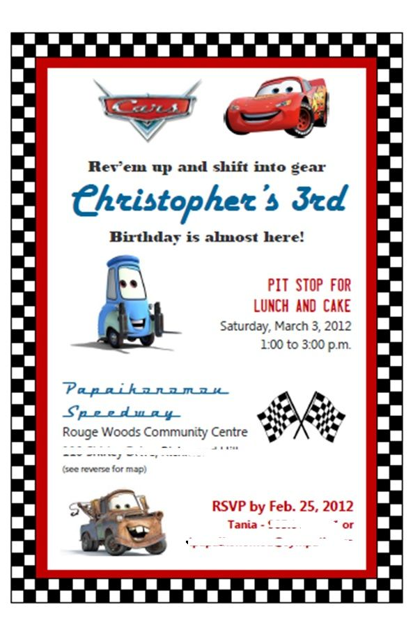 cars movie theme birthday invite created in microsoft publisher