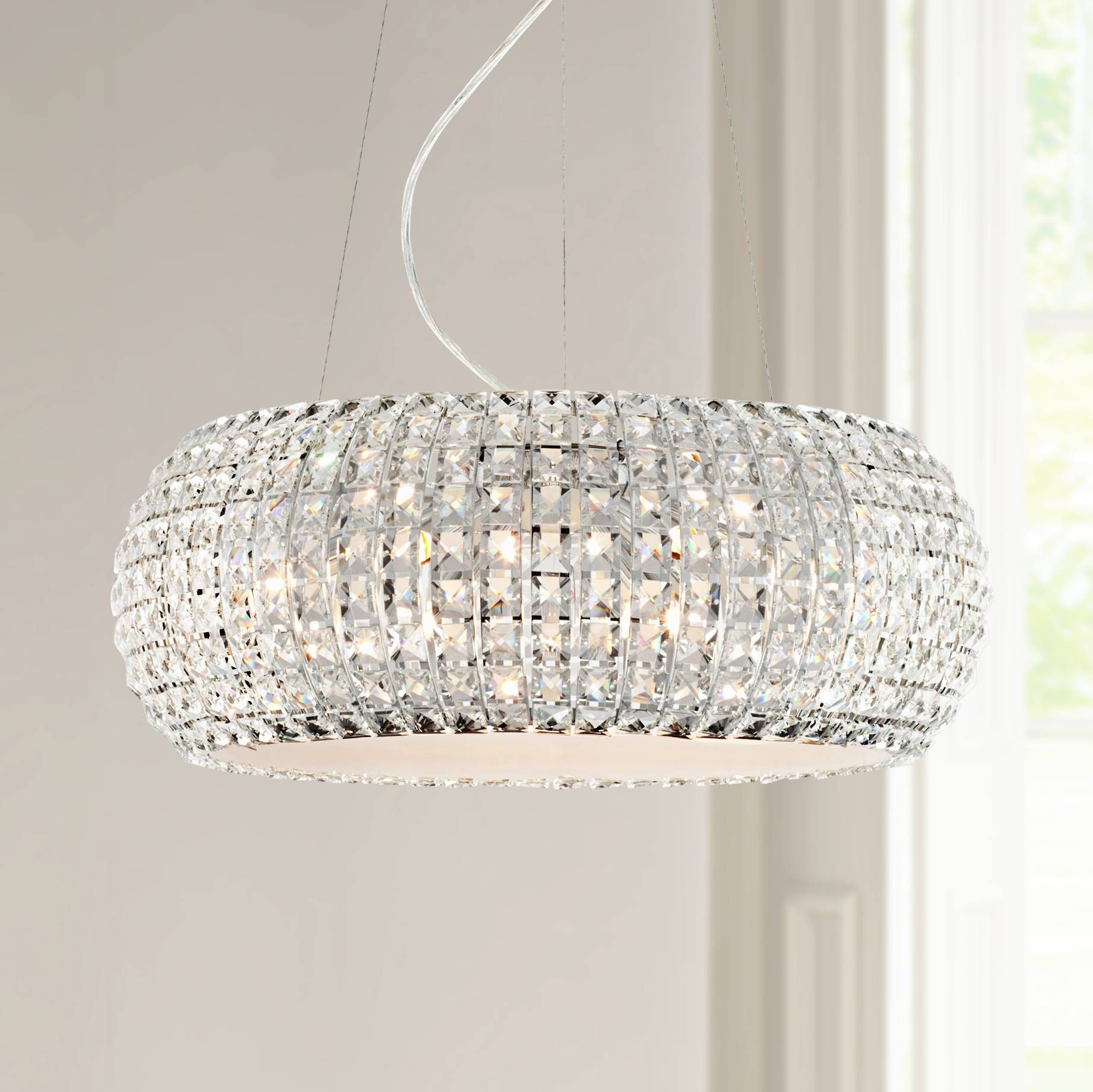 "Possini Euro Design 20"" W Contour Crystal Chrome Chandelier"