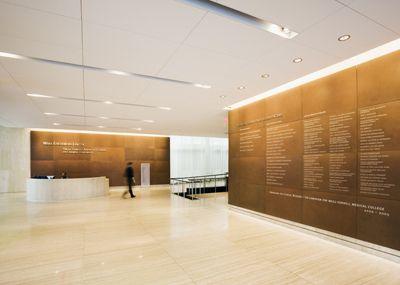 Corten steel lobby and donor walls at cornell university - Cornell university interior design ...