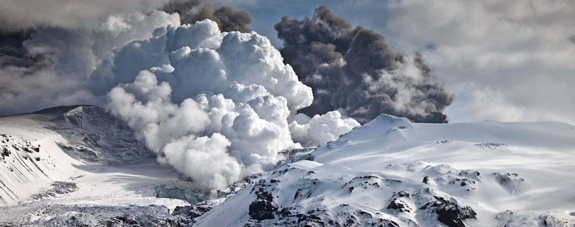 Ash plume rising from Eyjafjallajökull. Volcanic Ash and