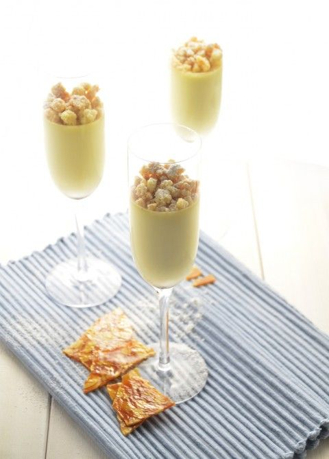 Panna cotta with cardamom, almond crumbs and nougatine
