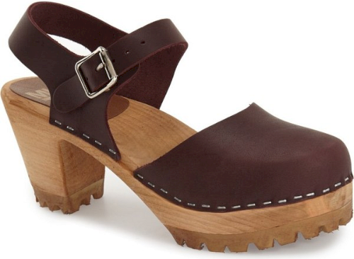 8be7f01ee1e6 Mia Abba Sandal in Burgundy. Contrast topstitching outlines a clog ...
