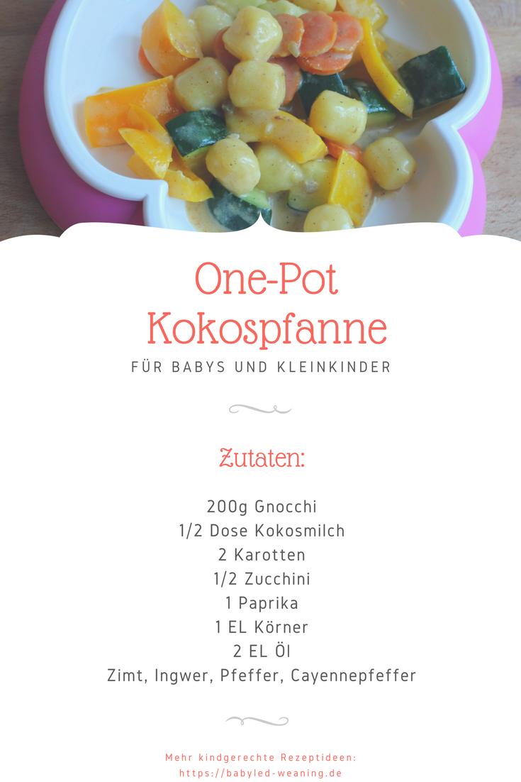 Schnell und einfach zubereitet und eine Abwechslung für den Gaumen: One-Pot Kokospfanne mit Gnocchi für Babyled Weaning. #easyonepotmeals