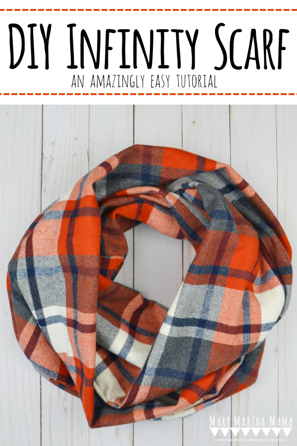 DIY Infinity Scarf- Learn How to sew this easy project following this step by step tutorail with pictures. Mary Martha Mama #sewingprojects #sewing #beginnersewingprojects