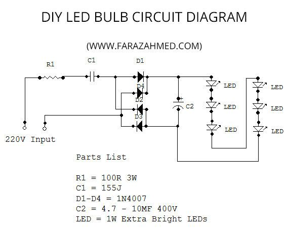 diy home made 6w led bulb electronics projects rh pinterest co uk schematic diagram of led bulb circuit diagram of 7 watt led bulb