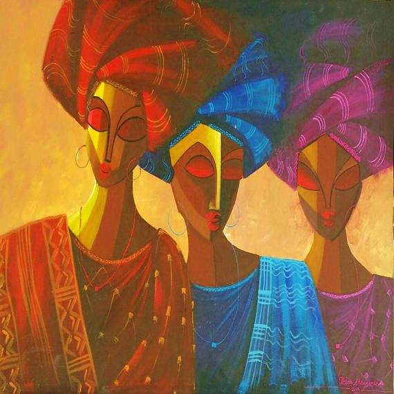 Afrocentric Art African Artwork Canvas Wall Hanging Woman