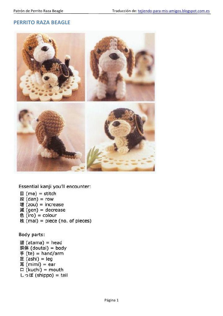 Patrón de amigurumi para hacer un perrito de raza Beagle en ...