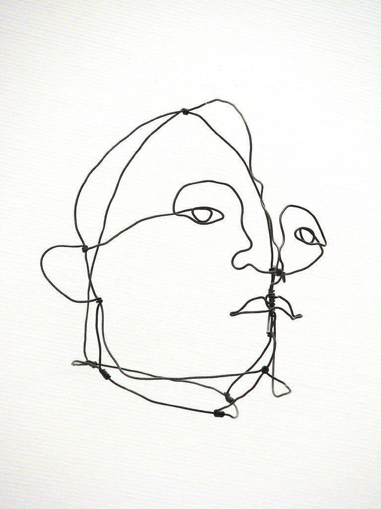 Contour Line Drawing With Wire : Single line contour drawing portraits alexander calder