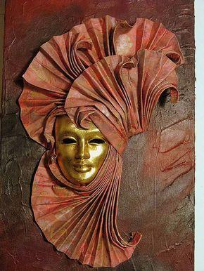 Photo of Acrylic on canvas with Venesa mask – Acrylic on canvas with a mask of Venice Carnival