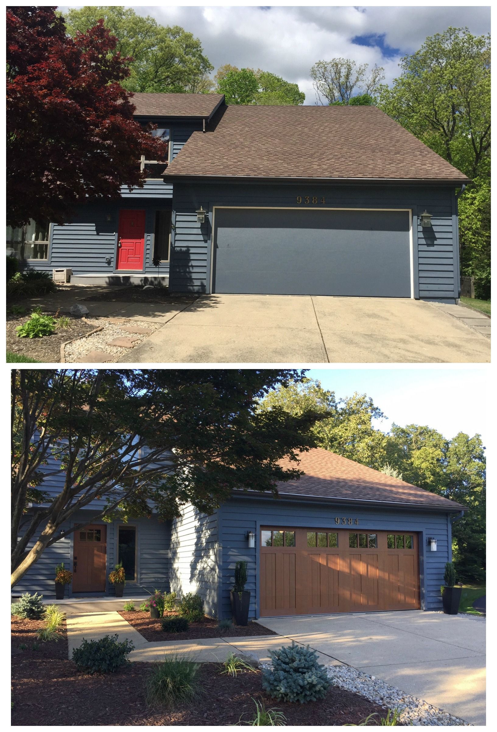 Classica northampton garage door white 9 x 8 no windows - Exterior Makeover Moving Toward A Modern Craftsman New Clopay Front Door And Faux Wood