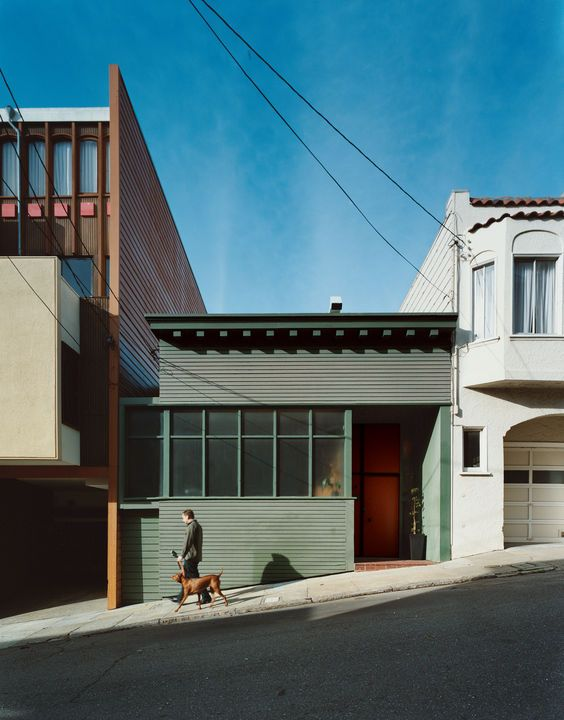 Hill's renovation maintains some Victorian character in the decorative eaves and scaling, but the home is largely an anomaly for San Francisco.