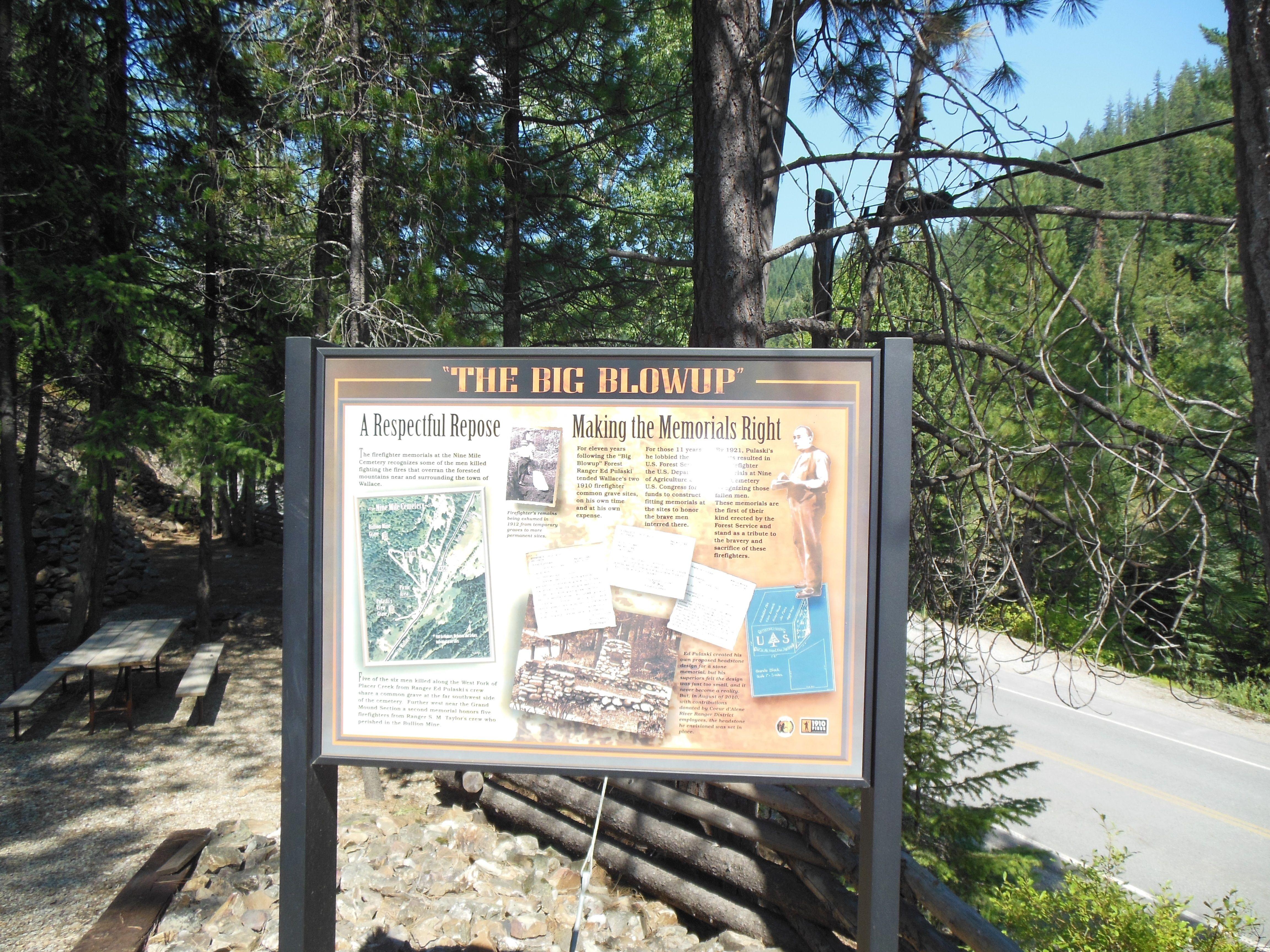 Big Blowup Commemorative Board At Nine Mile Cemetery