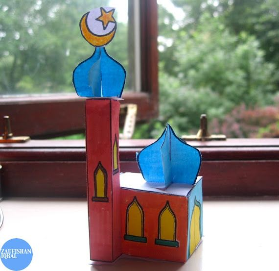 A 3d Mosque Model Made With One Sheet Of A4 Paper And Coloured Markers Downloadable Template Ramadan Kids Eid Crafts Ramadan Activities