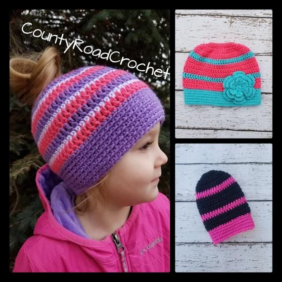 Crochet Ponytail Hat Messy Bun Hat Kid Hats Toddler Beanie Little Girl Hat Girl Winter Hat Sports Ha #kidsmessyhats