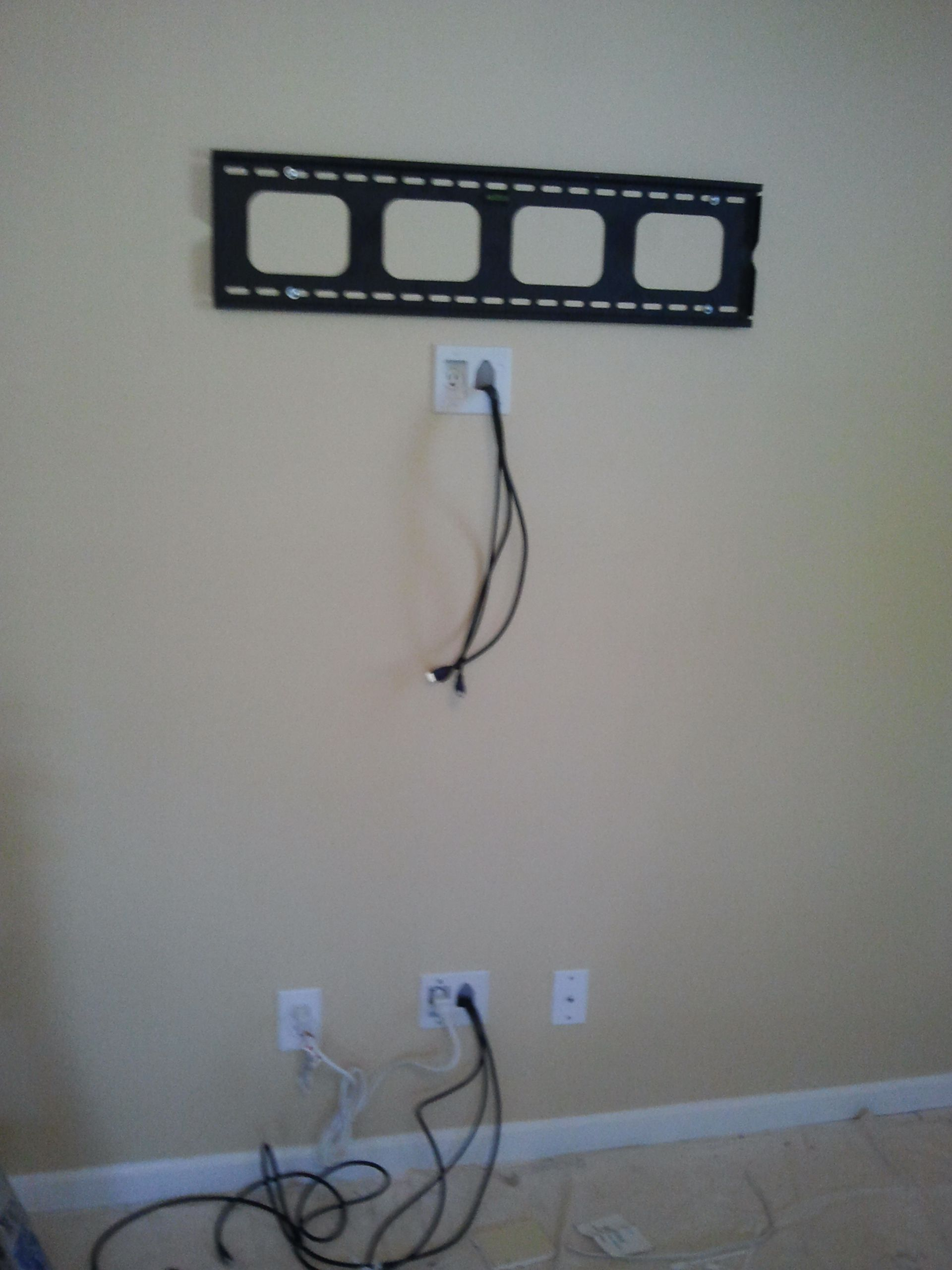 Concealing Wires In The Wall And Extending Electrical Outlet To Wiring Basement Walls Back Of Tv