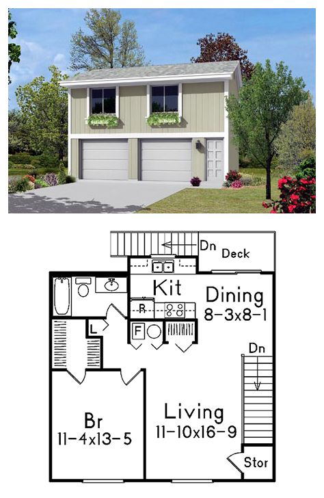 2 Car Garage Apartment Plan Number 87879 With 1 Bed 1 Bath