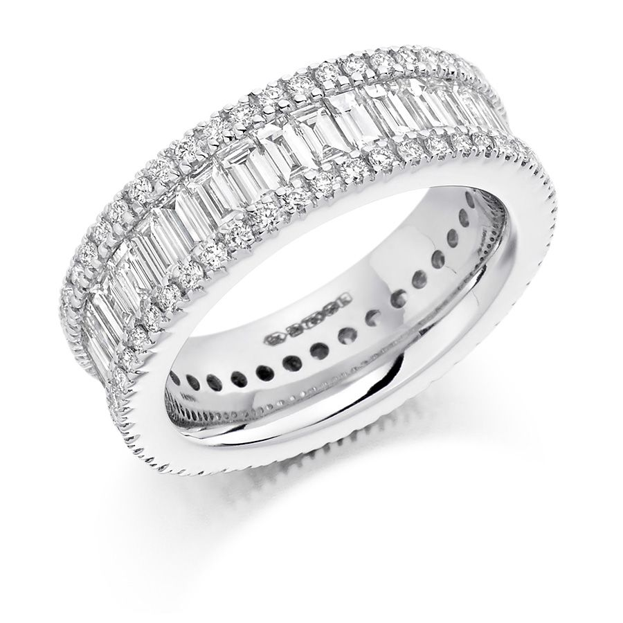 micro forever media band half pave brilliant diamond moissanite solitaire eternity ring engagement bands