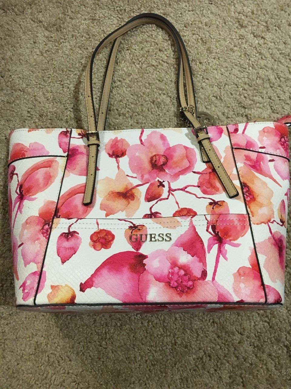 Guess Purse Pink Floral Print New Without Tags Guess Purses