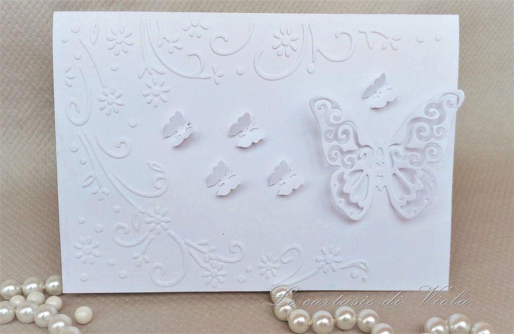 Partecipazioni Matrimonio Scrapbooking.Partecipazione Biglietto Di Invito Matrimonio Con Farfalle E Fiori