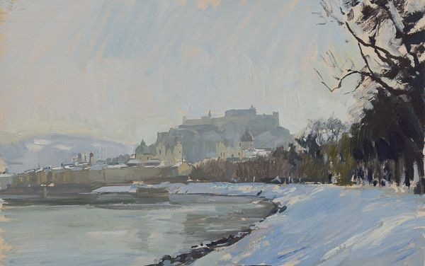 Plein air painting of Salzburg in winter.