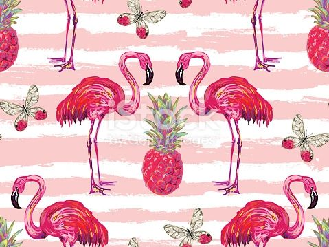Summer jungle pattern with tropical butterflies, flamingo and... #junglepattern