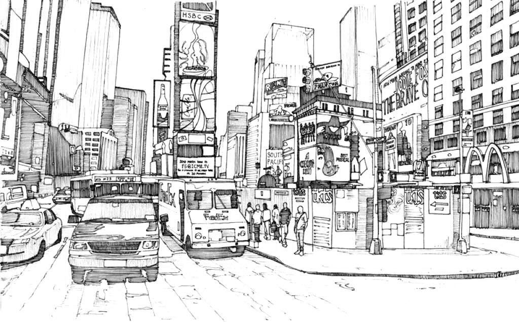 City Coloring Pages Best Coloring Pages For Kids Perspective Art New York Drawing City Drawing