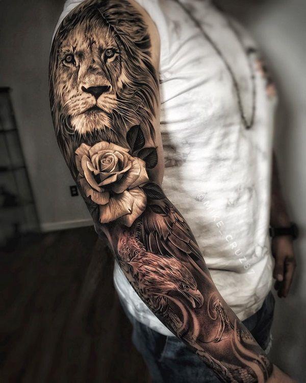 Lion Sleeve Tattoo : sleeve, tattoo, Awesome, Examples, Sleeve, Tattoo, Ideas, Cuded, Tattoos, Sleeve,, Tiger, Sleeves