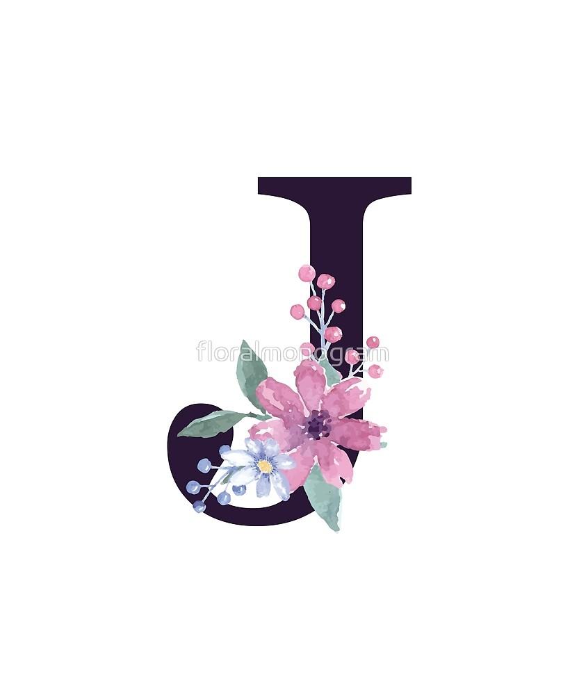 Monogram J Summer Flora Sticker By Floralmonogram Monogram Wallpaper Stylish Alphabets Tattoo Lettering