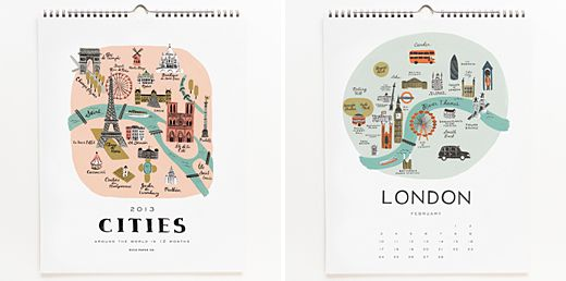2013 Cities Calendar from Rifle Paper Co.