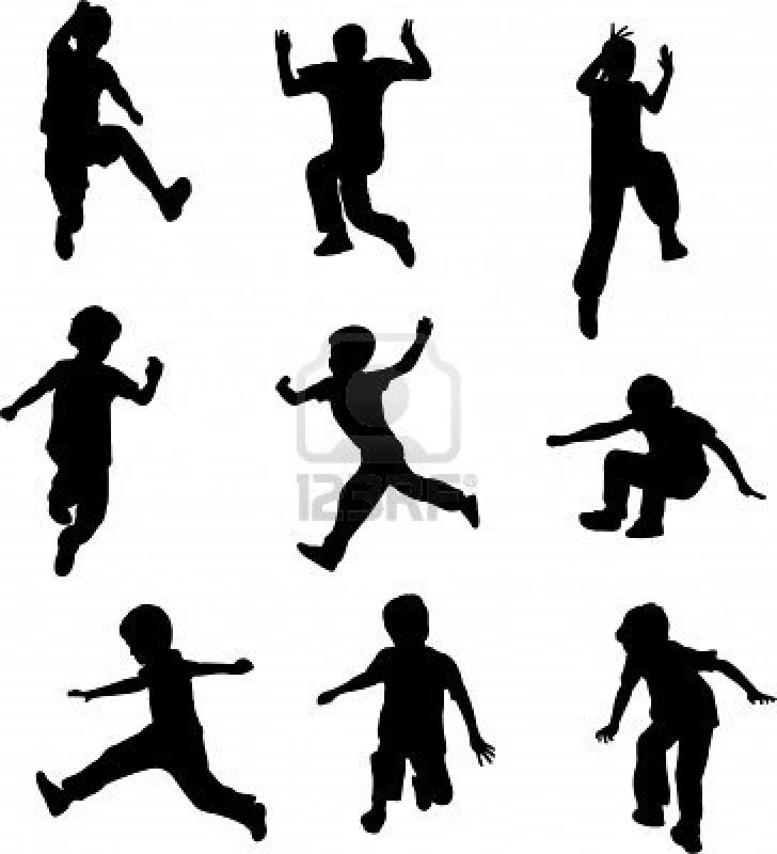 Silhouettes Of Children Jumping Vector Kids Silhouette Silhouette Art Silhouette Clip Art