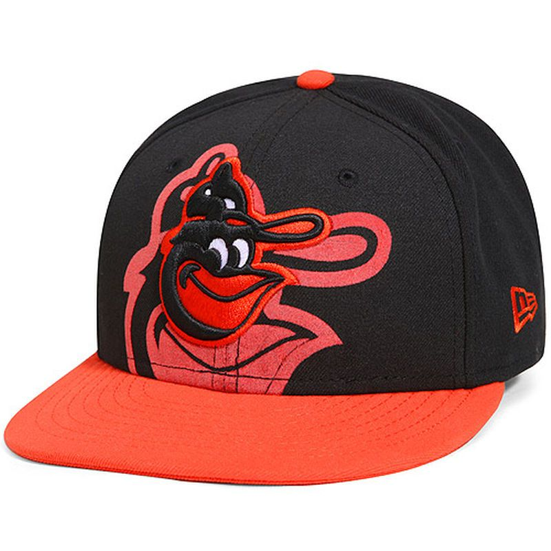 Baltimore Orioles New Era Youth Over Flock 59FIFTY Fitted Hat - Black Orange 888e9add4cf8