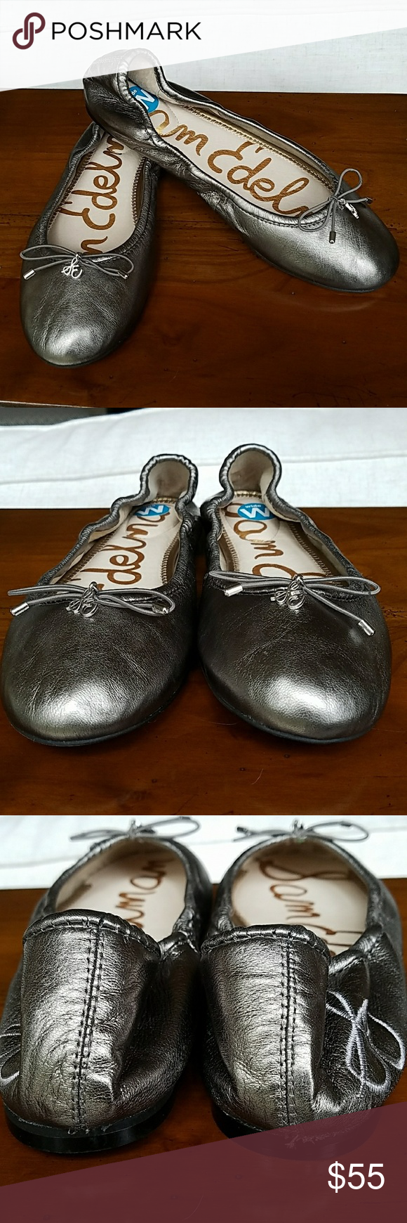 f1e2b9c21ac Sam Edelman Silver Gray Felicia Flats Worn once for about a half hour. Size  7.5 wide. I don t have a very wide foot and these fit very well.