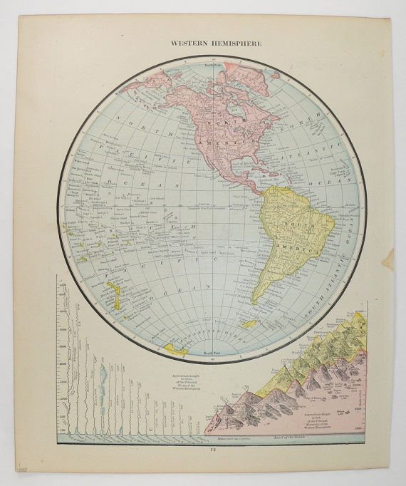1888 Western Hemisphere Map, Antique World Map, Vintage Map World Globe, Map  Art