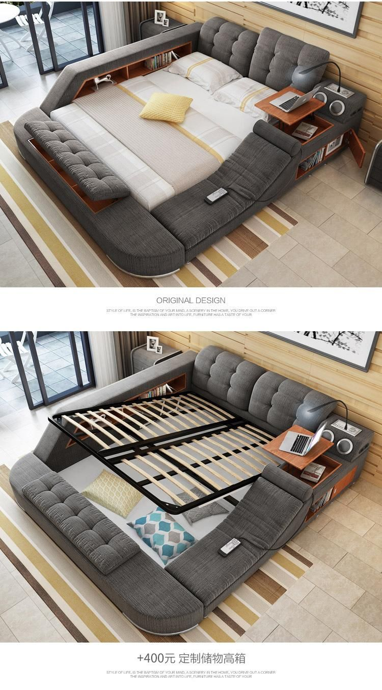 2021 Tb024 Europe And America Hemp Fabric Soft Bed Frame Bedroom Furniture With Speaker Massage Sofa Storage Box Multifunction Bed From Wlnsfurniture 1 155 78 In 2021 Quality Bedroom Furniture Bedroom Bed Design Smart Bed