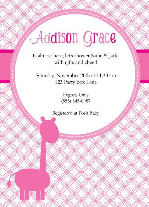 Pink Giraffe Baby shower invite