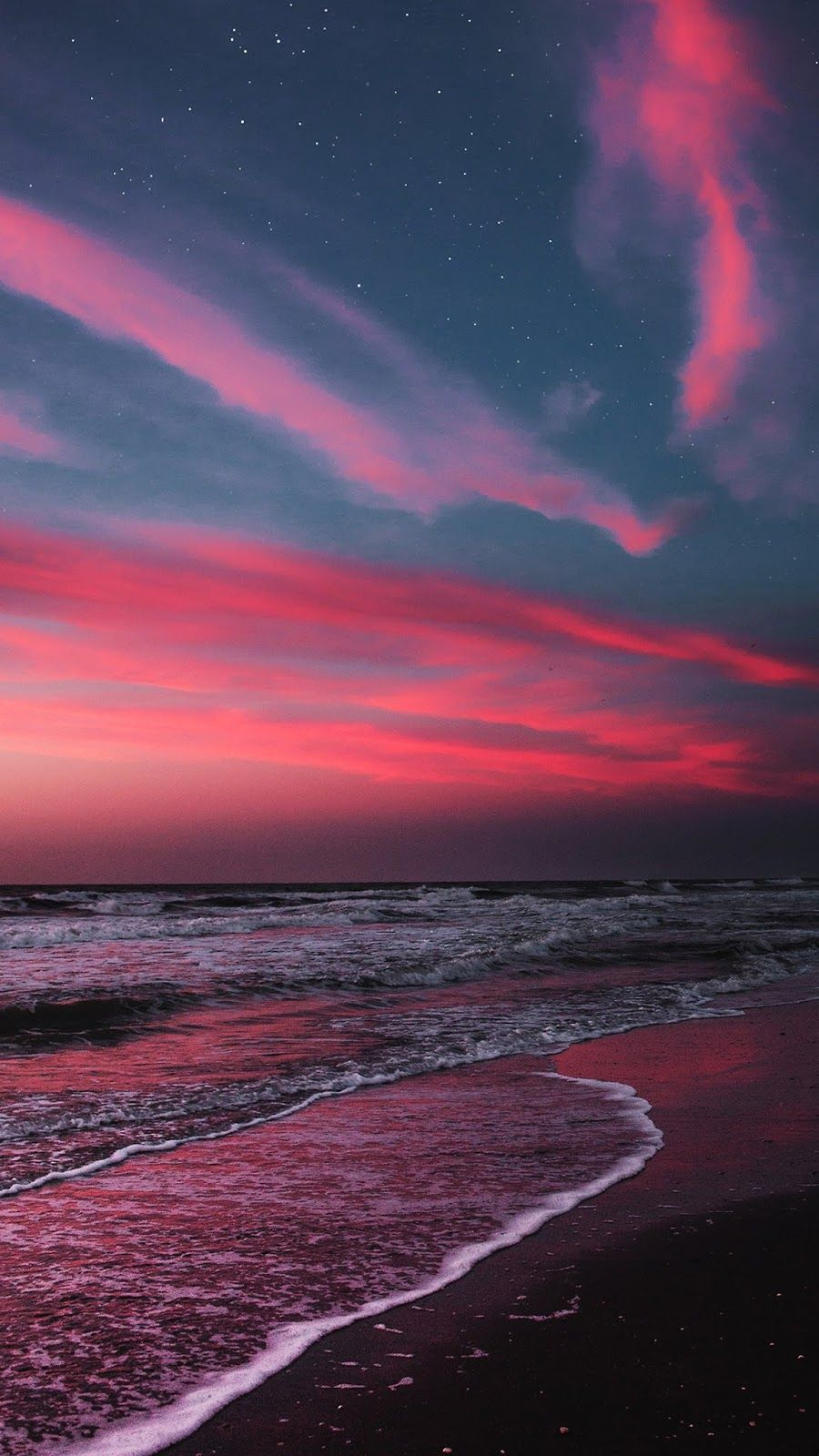 Beach In The Twilight Sunset Wallpaper Iphone Android Background Followme Scenery Wallpaper Sky Aesthetic Sunset Wallpaper