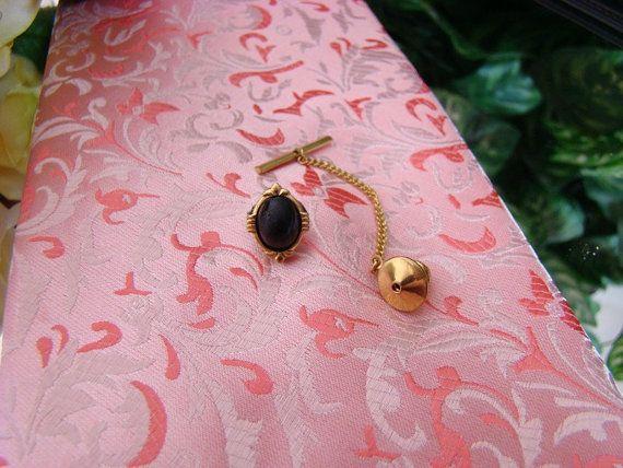 Black Glass Oval Stone  Gold Tone Trim Tie by CocoLuvsKreativity