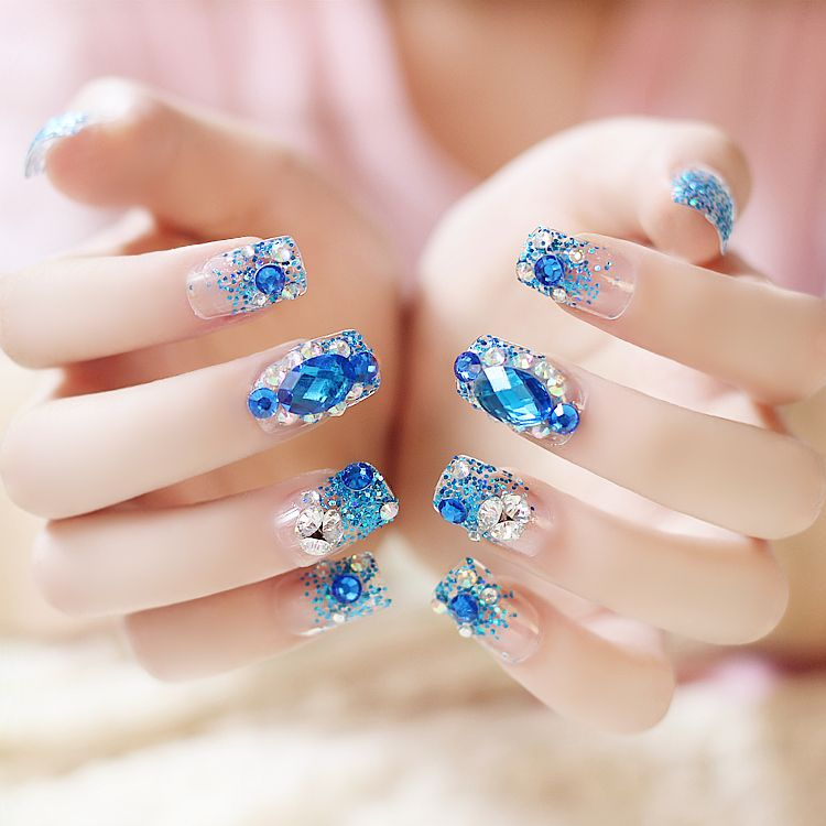 24pcs/set blue sapphire rhinestone diamond with glitter powder Nail ...