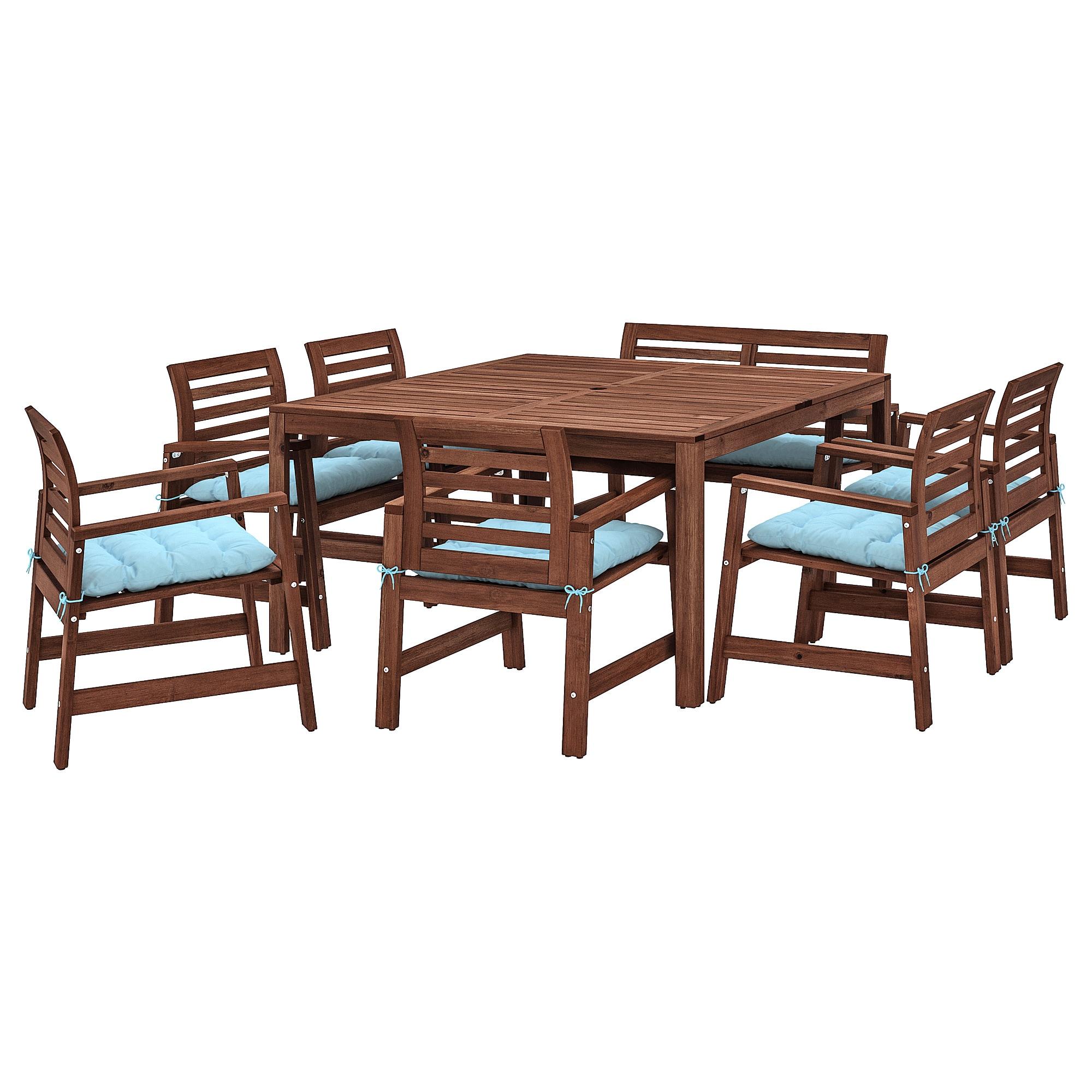Applaro Tisch 6 Armlehnstuhle Bank Aussen Braun Las Kuddarna