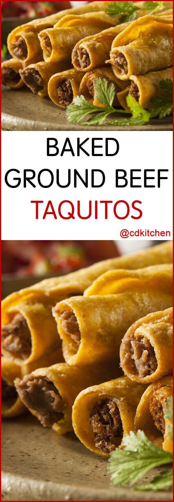 Baked Ground Beef Taquitos Recipe | CDKitchen.com
