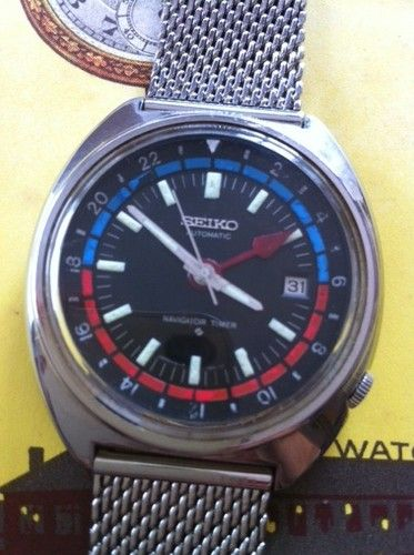 19ed98f37ef5 Vintage Seiko Navigator Timer Automatic Self Winding Mens Watch GMT ...