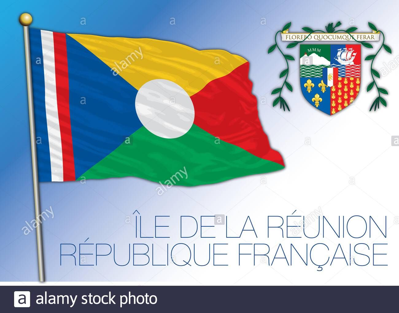 Download This Stock Vector Reunion Unofficial National Flag And Coat Of Arms French Territory Vector Illustration 2ba97wc From Alamy S Library Of M En 2020 Banderas