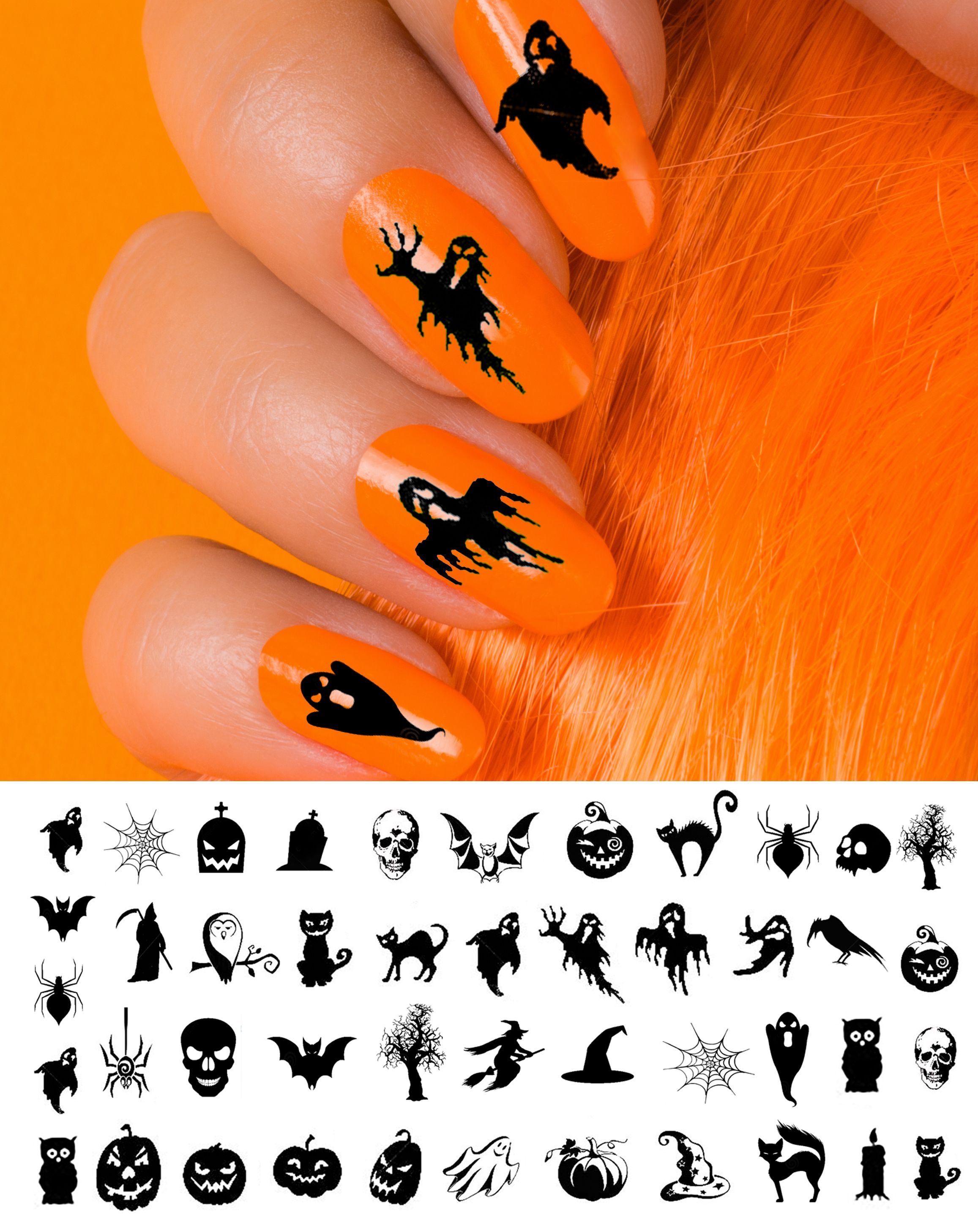 Www Moonsugardecals Com Offers Over 100 Different Salon Quality Nail Art Decal Sets For Any Occasion Includin Sugar Nails Halloween Nail Decals Halloween Nails