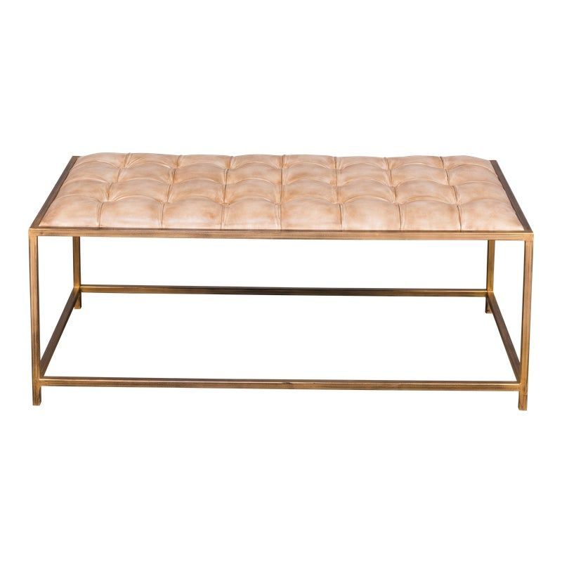 Sarreid Ltd., Montvale Tufted Leather Coffee Table / Bench