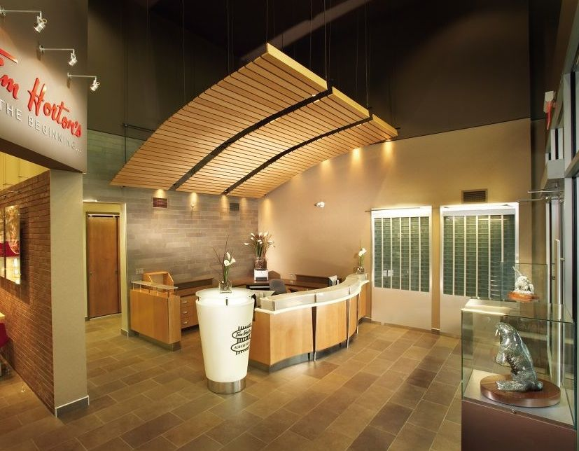 Wave Wood Panels With Much Of Ceiling Exposed Good For